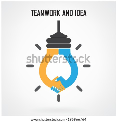 Creative light bulb Idea and handshake sign concept background design for poster flyer cover brochure ,business idea ,abstract background.vector illustration contains gradient mesh. - stock vector