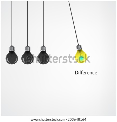 Creative light bulb Idea concept background,difference concept .Vector illustration - stock vector