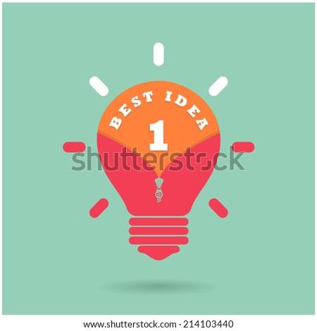Creative light bulb Idea concept with  the best idea concept on background. Vector illustration - stock vector