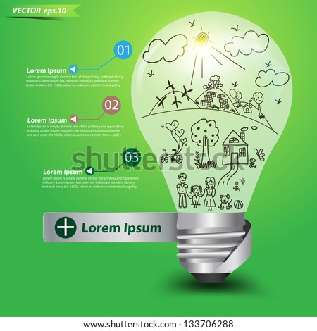 Creative light bulb idea with happy family and ecology concept, Vector illustration template design - stock vector