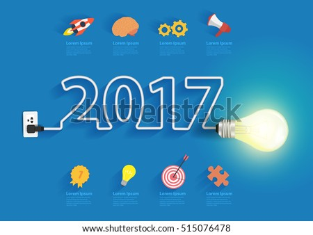 Creative light bulb idea with 2017 new year design, Inspiration business plan, marketing strategy, teamwork, brainstorm ideas concept, Vector illustration modern design layout template