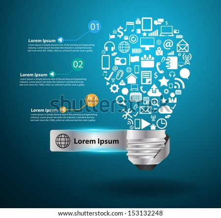 Creative light bulb idea with social media application icons concept, Vector illustration modern template design - stock vector
