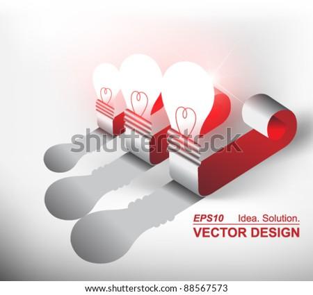 creative light bulb label vector design - stock vector