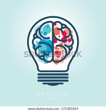 Creative Light Bulb Left and Right Brain Idea Vector Icon - stock vector