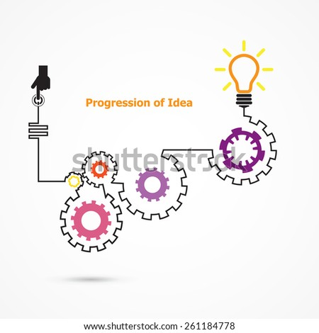 Creative light bulb symbol with linear of gear shape. Progression of idea concept. Business, education and industrial idea. Vector illustration - stock vector