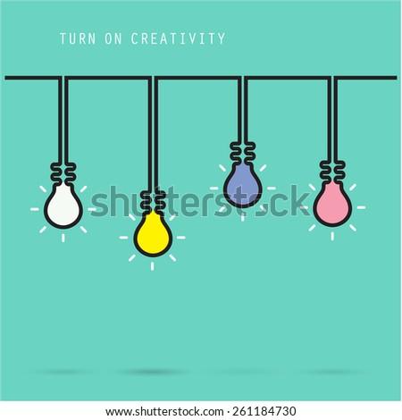 Creative light bulb symbol with turn on creativity concept, education and business idea. Vector illustration - stock vector