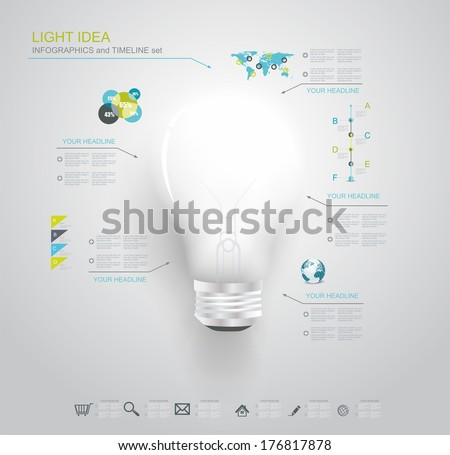 Creative light bulb with application icons. Modern infographic template. Business software. Social media concept. - stock vector