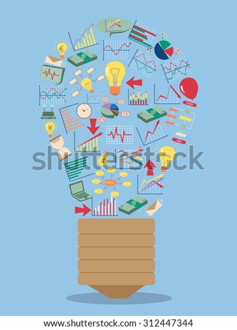 Creative light bulb with business finance chart and graph idea concept, Vector Illustration EPS 10. - stock vector