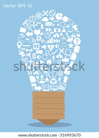 Creative light bulb with Creative business, technology and strategy planning web icons Idea, Vector Illustration EPS 10. - stock vector