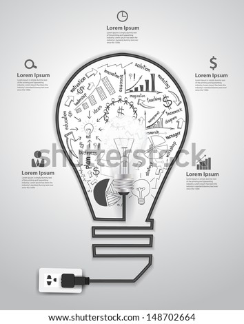 Creative light bulb with drawing charts and graphs business success strategy plan concept idea, Vector illustration modern template design  - stock vector