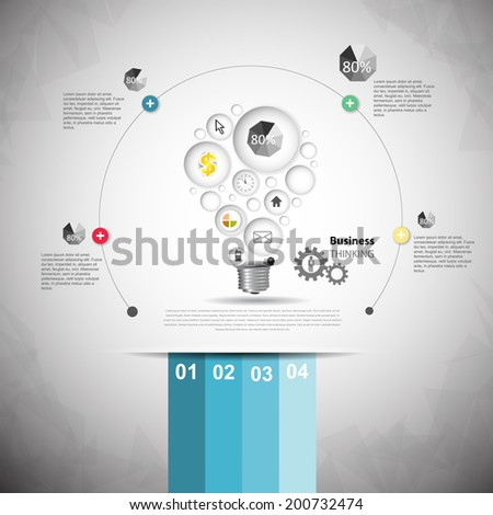 Creative light bulb with element drawing business success  - stock vector