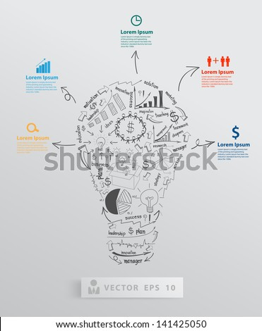 Creative light bulb with element drawing business success strategy plan concept idea, Vector illustration modern template Design  - stock vector