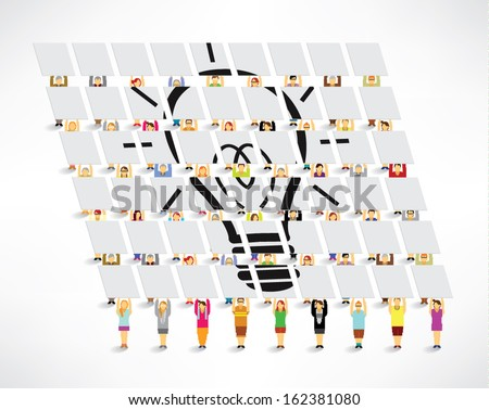 Creative light bulb with many people gather around vector design - stock vector