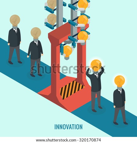 Creative light bulb with people, Business, Innovation, Idea concept. Isometric 3d vector - stock vector