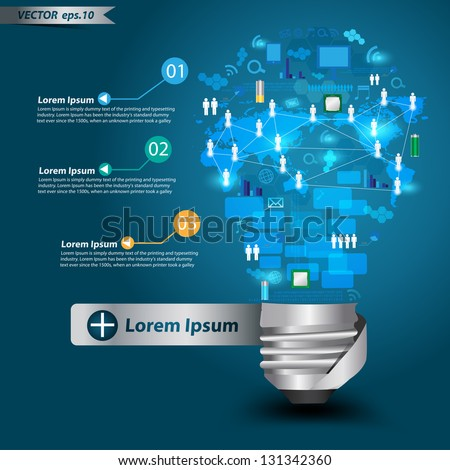 Creative light bulb with technology business Network process diagram concept idea, Vector illustration Modern template Design - stock vector