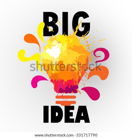 creative light ,iea and concept with color splash  - stock vector