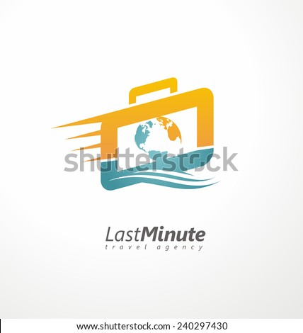 Creative logo design concept for travel agency. Suitcase with motion trail and world map symbol template. Unique icon idea for last minute vacation. - stock vector