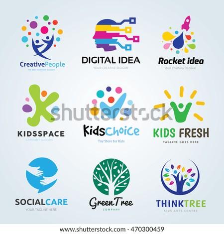 creative logo design set brand identity for kids educationidea and learning logo - Logo Design Idea
