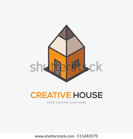 Creative Logo With Pencil Looking Like A House Can Be Used For Interior Or Exterior