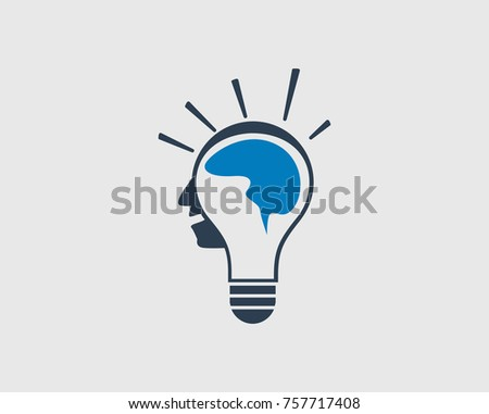 Creative Man Icon. Human face in Bulb head with human Brain.