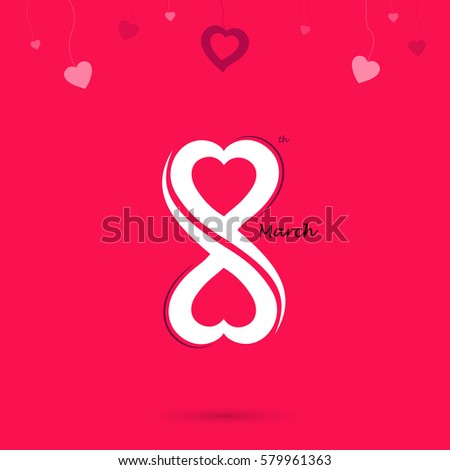 Creative 8 March logo vector design with international women's day concept.Vector illustration