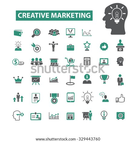 creative marketing, advertising, promotion icons - stock vector