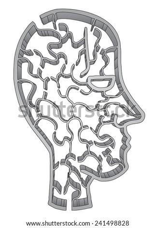 Creative maze face - stock vector