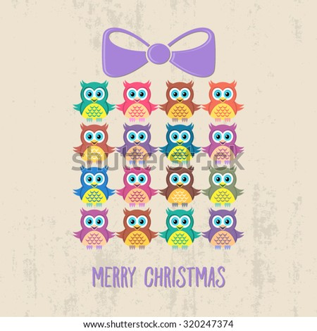 Creative merry christmas card with owls and present - stock vector