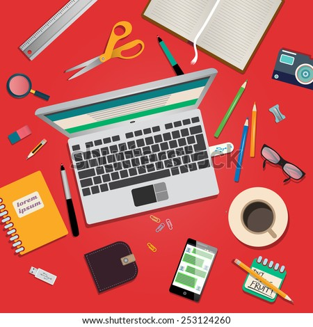 Creative mess on office desk - concept with flat modern design - stock vector