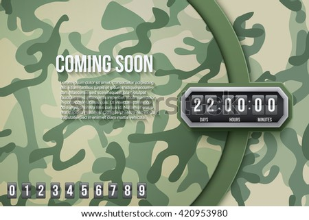 Creative Military Camouflage Background Coming Soon and countdown timer with digit samples. Vector Illustration. - stock vector