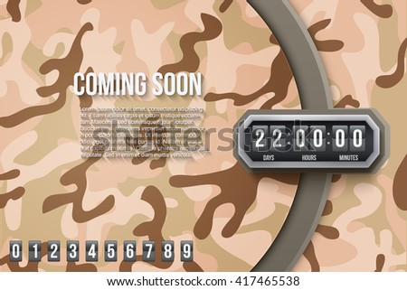 Creative Military Desert Camouflage Background Coming Soon and countdown timer with digit samples. Vector Illustration. - stock vector