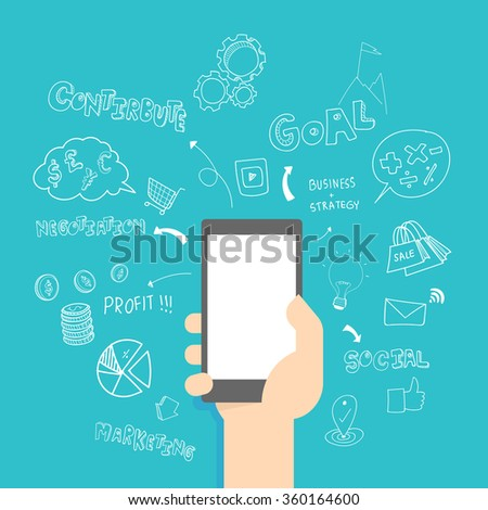 Creative mobile marketing & business  strategy plan idea. Vector illustration