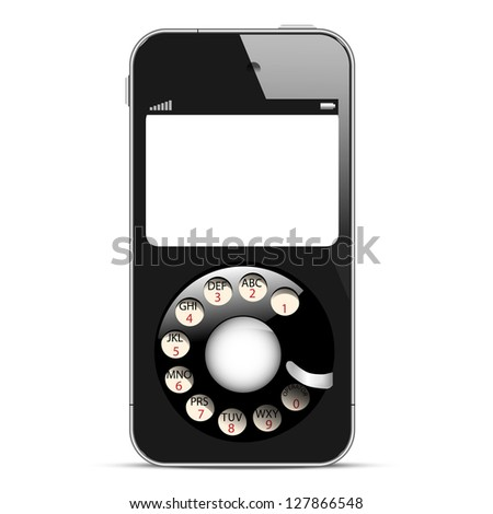Creative Mobile phone with retro disc dials. Concept vector illustration - stock vector