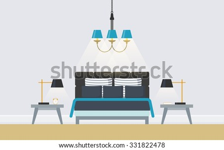 Creative modern bedroom with comfort double bed, bedstand, lamp, chandelier. Concept interior with luxury furniture . Flat design icons, minimalist style. Vector illustration- 10 EPS, design element - stock vector