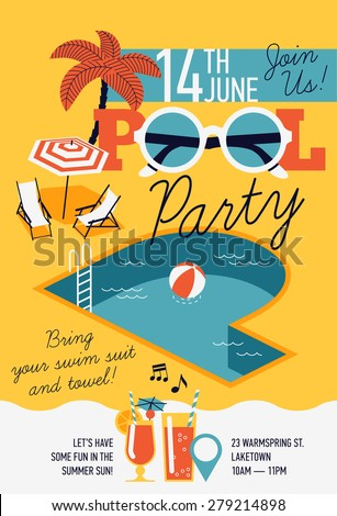 Creative modern flat design invitation on pool party with P letter shaped swimming pool, parasol umbrella, beach chairs and sample text - stock vector