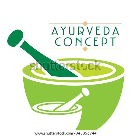 creative mortar and pestle Ayurveda treatment vector  - stock vector