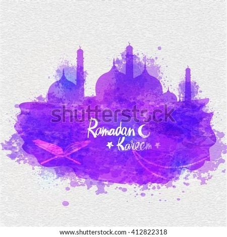 Creative Mosque made by purple colour splash with Quran Shareef on stylish grey background for Islamic Holy Month, Ramadan Kareem celebration. - stock vector