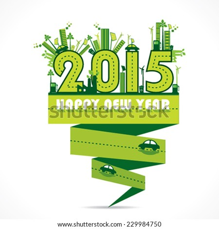 creative natural or eco-city new year 2015 design vector - stock vector