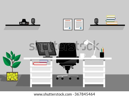 Creative office desktop workspace. Vector mock up