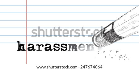Creative on a theme of harassment, a pencil eraser and word harassment. Vector illustration. - stock vector