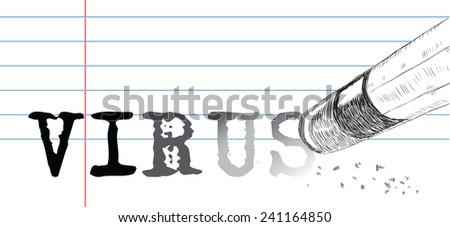 Creative on a theme of virus, a pencil eraser and word virus. Vector illustration. - stock vector