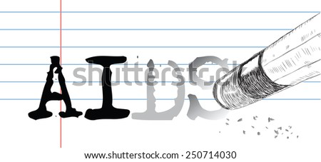 Creative on a theme of virus AIDS, a pencil eraser and word AIDS. Vector illustration. - stock vector