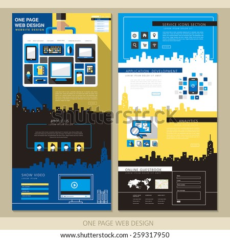creative one page website design template with briefcase elements in flat  - stock vector