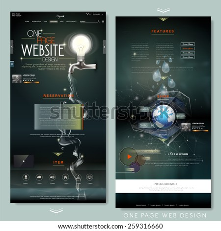 creative one page website design template with lighting bulb and water resource elements - stock vector