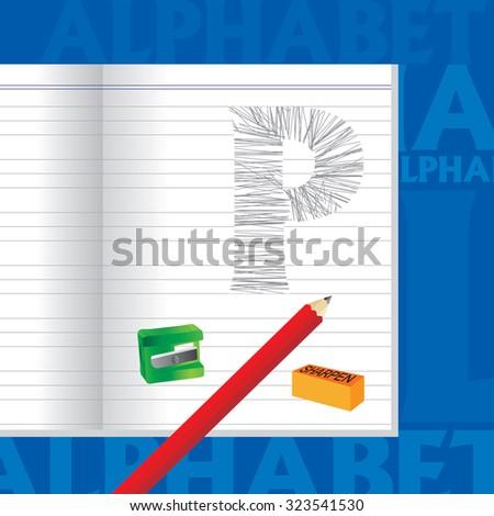 creative P alphabet sketched by pencil school education concept  - stock vector