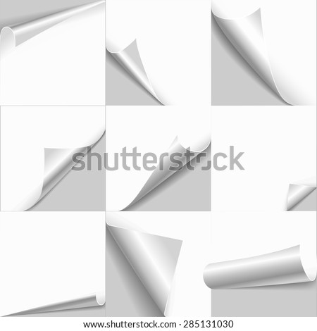 Creative page curl rolled set. Web background templates of empty white paper with flip edges. Copy space for text, logo, header, product. - stock vector