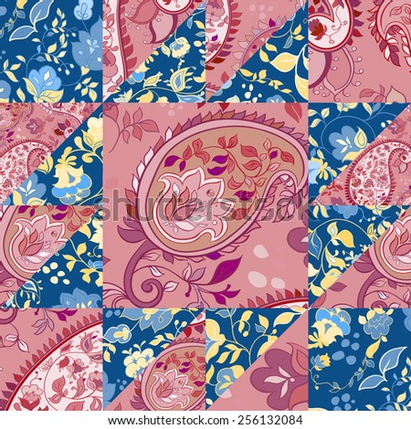 Creative paisley patchwork pattern with flowers. Vintage boho style - stock vector