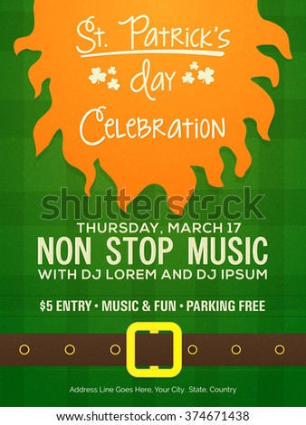 Creative Pamphlet, Banner or Flyer design with Party details for Happy St. Patrick's Day celebration. - stock vector