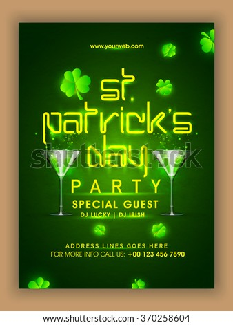 Creative Pamphlet, Banner or Flyer design with shiny text St. Patrick's Day on shamrock leaves decorated green background. - stock vector