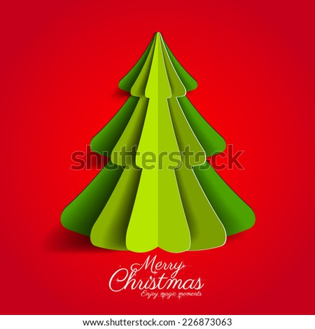 Creative paper Christmas tree on red background. simple vector Illustration